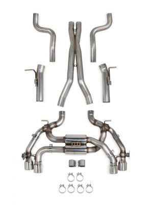 Hooker 2016 Chevrolet Camaro SS NPP A8 6.2L 304SS Race Only Dual Transverse Muffler Dual Mode Exhaust System w/Quad Tips, Compatible with Long Tube Headers (AFM Valve Delete; Fits Automatic Transmission)