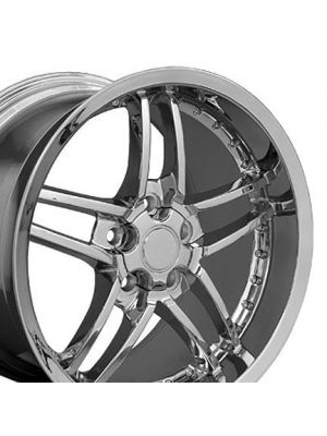 C6 Z06 Style Deep Dish Wheel Chrome w/rivets 18x10.5 (Rear)