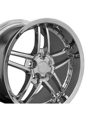 C6 Z06 Style Deep Dish Wheel Chrome w/rivets 19x10 (Rear)