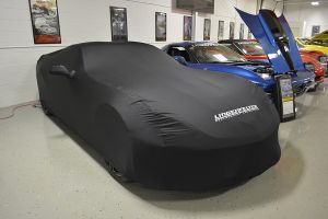 COVER KING SATIN STRETCH INDOOR CAR COVER LPE LOGO CORVETTE C7 CONVERTIBLE 2014-15 SUPER SOFT BLACK MATERIAL WITH WHITE LINGENFELTER LOGO
