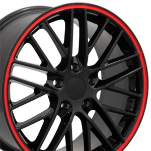 C6 ZR1 Style Wheel Black Red Banding 18x9.5