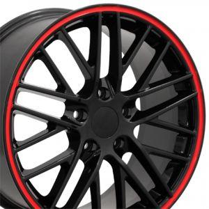 C6 ZR1 Style Wheel Black Red Banding 19x10 (Rear)