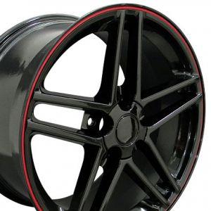 C6-Z06 Style Wheel Black Red Banding 19x10 (Rear)