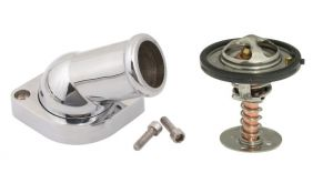 HOLLEY WATER NECK & 160 DEGREE THERMOSTAT KIT - GM LS - SWIVEL - 30 DEGREE ANGLE
